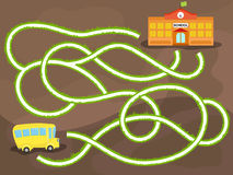 Vector maze game with school bus. Way to the school Stock Photography