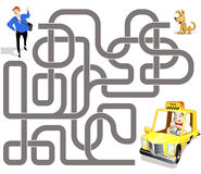 Vector maze game: taxi driver and passenger. Vector maze game: taxi driver on yellow car find the way to passenger vector illustration