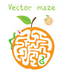 Vector Maze, Labyrinth with Сaterpillar and Apple Stock Images