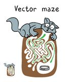 Vector Maze, Labyrinth with cat. Royalty Free Stock Photography