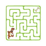 Vector Maze, Labyrinth with Dog. Stock Image