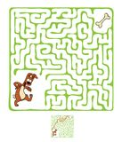 Vector Maze, Labyrinth with Dog. Royalty Free Stock Photo