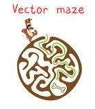 Vector Maze, Labyrinth with Dog Stock Images
