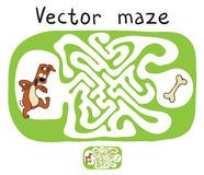 Vector Maze, Labyrinth with Dog Royalty Free Stock Photo