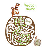 Vector Maze, Labyrinth with Dog Stock Image