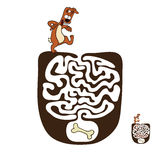 Vector Maze, Labyrinth with Dog Royalty Free Stock Photos