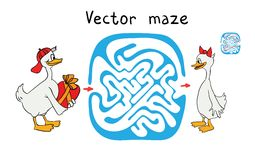 Vector Maze, Labyrinth with Ducks. Royalty Free Stock Images