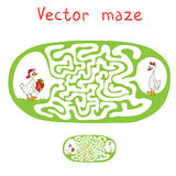 Vector Maze, Labyrinth with ducks Royalty Free Stock Image
