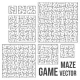 Vector Maze. Labyrinth with Entry and Exit. Maze Game Set. Labyrinth Game with Entry and Exit. Find the Way Out Concept. Transportation. Logistics Abstract Stock Images
