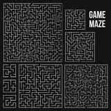 Vector Maze. Labyrinth with Entry and Exit. Maze Game Set. Labyrinth Game with Entry and Exit. Find the Way Out Concept. Transportation. Logistics Abstract Royalty Free Stock Photos