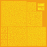 Vector Maze. Labyrinth with Entry and Exit. Maze Game Set. Labyrinth Game with Entry and Exit. Find the Way Out Concept. Transportation. Logistics Abstract Royalty Free Stock Images