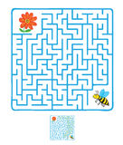 Vector Maze, Labyrinth with Flying Bee and flower Stock Photo