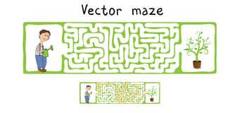 Vector Maze, Labyrinth with Gardener and Plant. Royalty Free Stock Image
