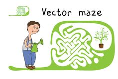 Vector Maze, Labyrinth with Gardener and Plant. Royalty Free Stock Photography