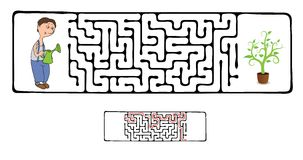 Vector Maze, Labyrinth with Gardener and Plant. Stock Images
