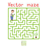 Vector Maze, Labyrinth with Gardener and Plant Stock Photo