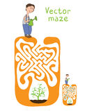 Vector Maze, Labyrinth with Gardener and Plant Stock Image