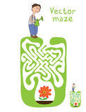 Vector Maze, Labyrinth with Gardener and Plant Stock Photos