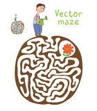 Vector Maze, Labyrinth with Gardener and Plant Stock Images