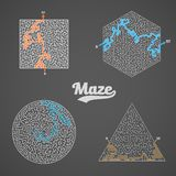 Vector Maze Labyrinth Greek Puzzle Challenge Set Royalty Free Stock Photo