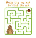 Vector Maze, Labyrinth with Marmot and Nut. Stock Photo