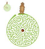 Vector Maze, Labyrinth with Marmot and Nut. Royalty Free Stock Photos