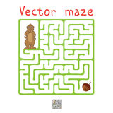 Vector Maze, Labyrinth with Marmot and Nut Stock Image