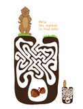 Vector Maze, Labyrinth with Marmot and Nut Stock Photography