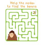 Vector Maze, Labyrinth with Monkey and Banana. Royalty Free Stock Photo