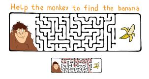 Vector Maze, Labyrinth with Monkey and Banana. Stock Image