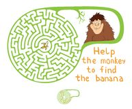 Vector Maze, Labyrinth with Monkey and Banana. Stock Photography