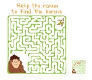 Vector Maze, Labyrinth with Monkey and Banana. Stock Photo