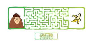 Vector Maze, Labyrinth with Monkey and Banana. Royalty Free Stock Photography