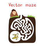 Vector Maze, Labyrinth with Monkey and Banana Stock Photography
