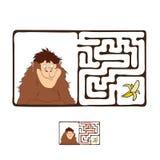 Vector Maze, Labyrinth with Monkey and Banana Stock Photos