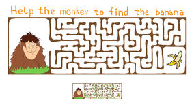 Vector Maze, Labyrinth with Monkey and Banana Royalty Free Stock Photography