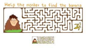 Vector Maze, Labyrinth with Monkey and Banana. Vector Maze, Labyrinth education Game for Children with Monkey and Banana Royalty Free Stock Photography