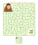 Vector Maze, Labyrinth with Monkey and Banana. Vector Maze, Labyrinth education Game for Children with Monkey and Banana Royalty Free Stock Images