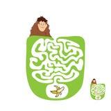 Vector Maze, Labyrinth with Monkey and Banana Royalty Free Stock Photo