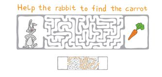 Vector Maze, Labyrinth with Rabbit  and Carrot. Royalty Free Stock Image