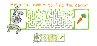 Vector Maze, Labyrinth with Rabbit  and Carrot. Royalty Free Stock Photo