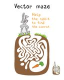 Vector Maze, Labyrinth with Rabbit  and Carrot. Stock Image