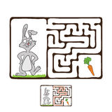 Vector Maze, Labyrinth with Rabbit  and Carrot Stock Images