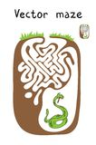 Vector Maze, Labyrinth with Snake. Stock Photography