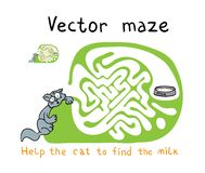 Vector Maze, Labyrinth with Snake. Royalty Free Stock Image