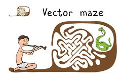 Vector Maze, Labyrinth with Snake and Fakir Stock Photo
