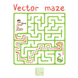 Vector Maze, Labyrinth with Snake and Fakir Royalty Free Stock Photo