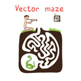 Vector Maze, Labyrinth with Snake and Fakir Stock Images