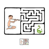 Vector Maze, Labyrinth with Snake and Fakir Stock Photos