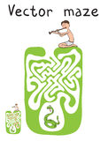 Vector Maze, Labyrinth with Snake and Fakir Royalty Free Stock Image